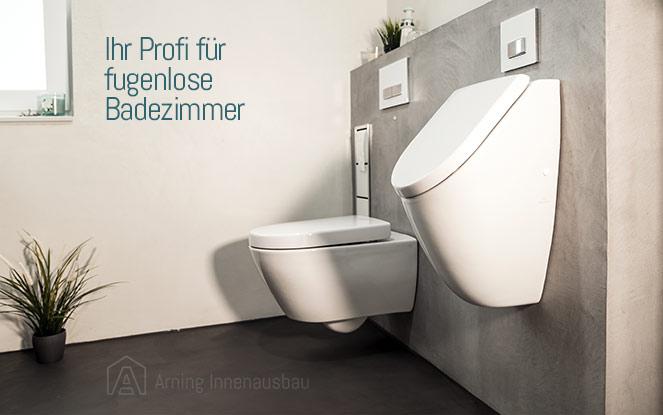 Beispiel eines modern und fugenlos gestalteten Badezimmers.